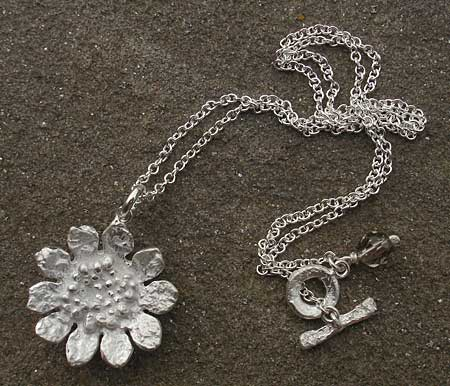 Silver sunflower necklace