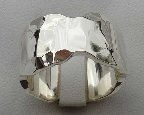 Silver designer wedding ring