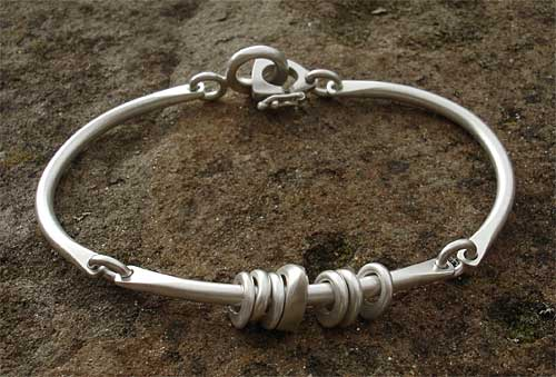 Womens Unusual Silver Bangle