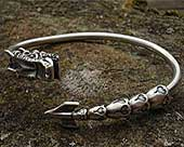 Silver dragon mens bracelet
