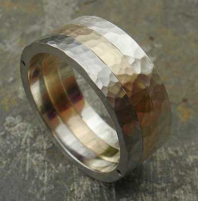 Hammered Steel Gold Silver Wedding Ring Love2have In The Uk