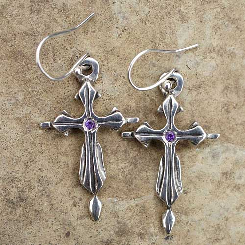 Silver Gothic Cross Earrings