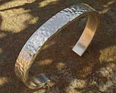 Men's hammered silver bracelet