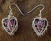 Silver heart cage drop earrings
