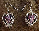 Silver heart cage earrings