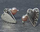 Celtic silver heart stud earrings