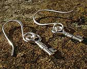 Silver hook heart earrings