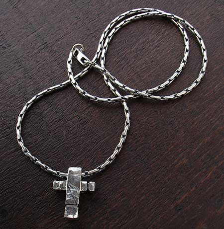Silver mens cross necklace