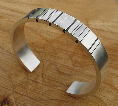 Mens Silver Personalised Barcode Bracelet