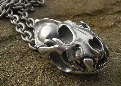 Silver men's panther skull necklace