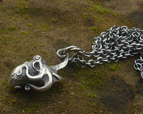 Silver Octopus Surf Necklace