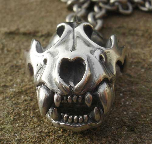 Mens Silver Panther Skull Necklace