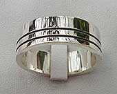 UK made modern silver wedding ring