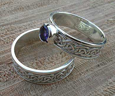 Scottish silver Celtic bridal set