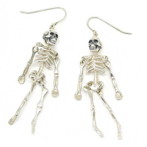 Halloween Skeleton Silver Earrings