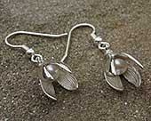 Silver snowdrop and pearl earrings