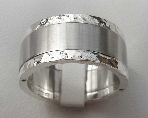 Hammered Silver Stainless Steel Wedding Ring