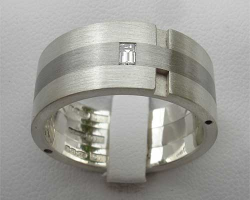 Baguette Diamond Stainless Steel & Silver Wedding Ring