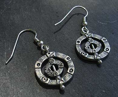 Silver Viking drop earrings