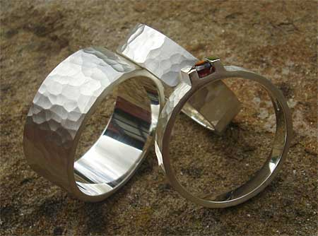 Silver wedding rings set