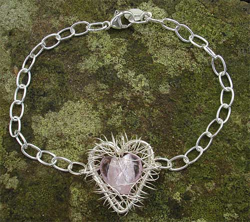 Womens Caged Heart Silver Bracelet