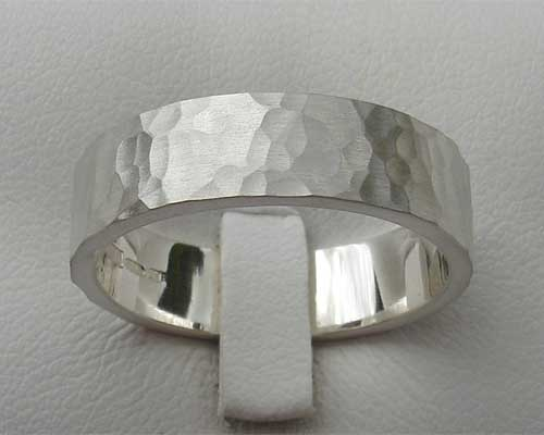 Size P Hammered Silver Wedding Ring