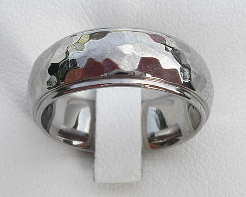 Size T Domed Hammered Wedding Ring