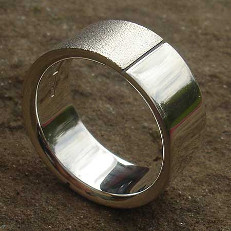 Split finish mens silver ring