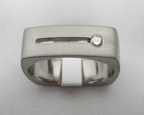 Mens Square Diamond Set Titanium Ring
