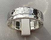 Stainless steel and silver wedding ring