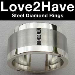 steel diamond rings