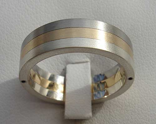 Stainless Steel, Gold & Silver Wedding Ring
