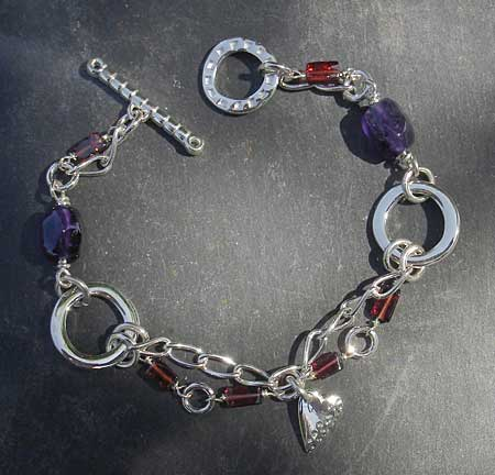 Sterling silver Celtic heart bracelet