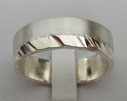 Mens Dual Finish Sterling Silver Ring
