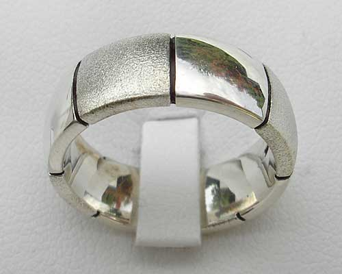 Mens Silver Domed Two Tone Ring