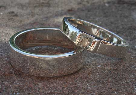 Sterling silver engagement and wedding rings