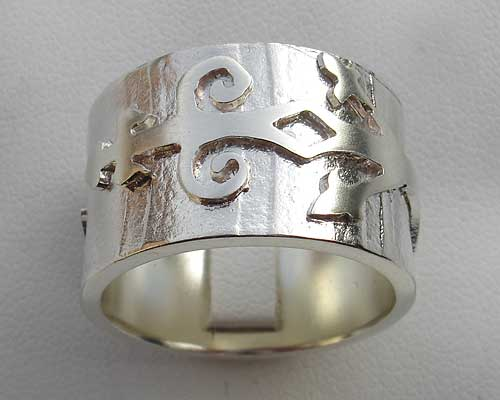 Gothic Hinge Wide Silver Ring