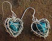 Teal silver heart cage earrings