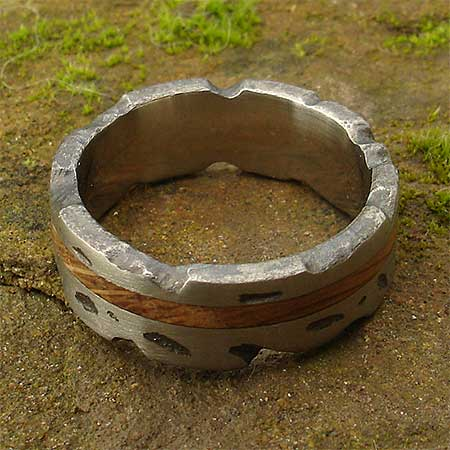 Textured silver and wood inlay ring