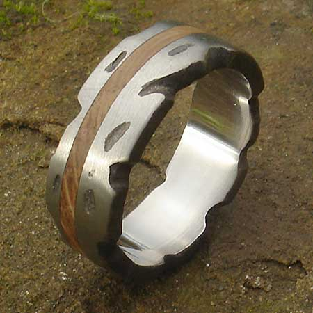 Textured silver and wooden inlay ring