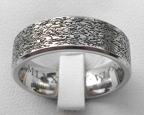 Contemporary Textured Surface Titanium Ring