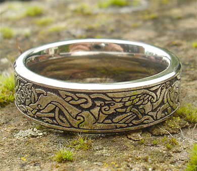 Titanium Celtic animals ring