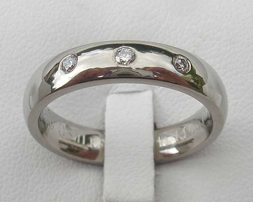 Diamond Set Titanium Ring For Women