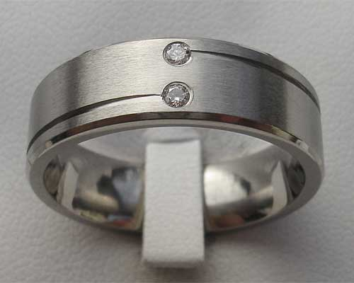 Unusual Twin Diamond Titanium Wedding Ring