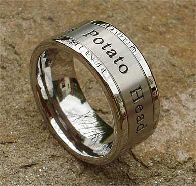 Men's personalised titanium ring