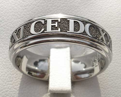 Customised Roman Numerals Wedding Ring
