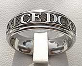 Wedding ring with customised roman numerals