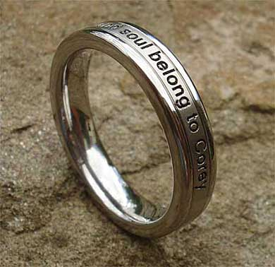 Women's personalised titanium ring