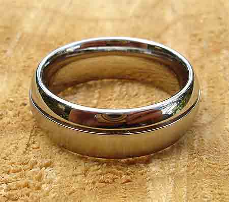 Titanium twin finish domed wedding ring