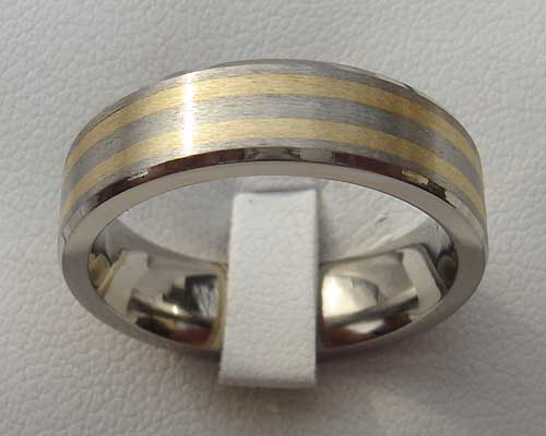 Titanium Wedding Ring With Inlaid Gold LOVE2HAVE in the UK